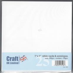 CraftUK korttipohjat ja kirjekuoret, valkoinen, 7