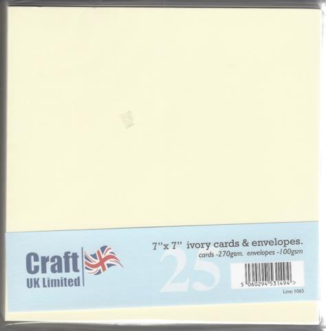 CraftUK korttipohjat ja kirjekuoret, kerma, 7