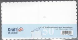 CraftUK korttipohjat ja kirjekuoret, scalloped (piparireuna), valkoinen, 5