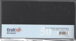 CraftUK korttipohjat ja kirjekuoret, musta, 5
