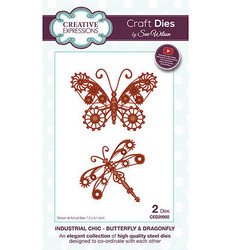 Creative Expressionsin Sue Wilson Industrial Chic stanssisetti Butterfly and Dragonfly