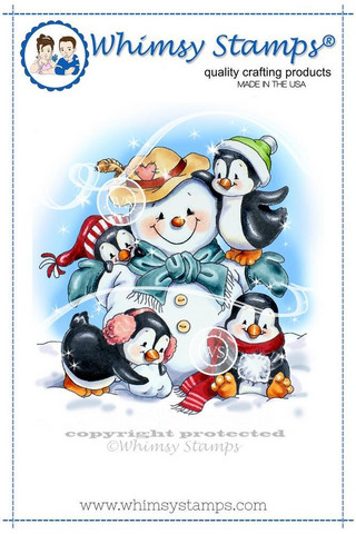 Whimsy Stamps Penguins Build A Snowman -leimasin