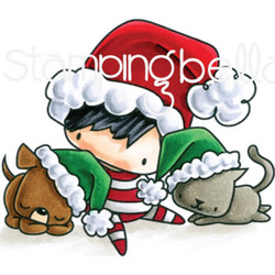 Stamping Bella The Littles kumileimasin Christmas Boy With Pets