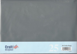 CraftUK pussit korteille, koko A4, 25 kpl
