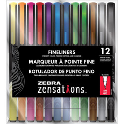 Zebra Zensations Fineliner -kynät, 0.8 mm, 12 kpl