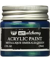 Finnabair Art Alchemy akryylimaali. Sävy Metallique Emerald Green