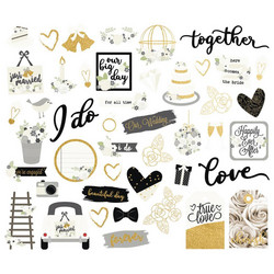 Simple Stories Always & Forever Bits & Pieces Die-Cuts, leikekuvat, 46 kpl