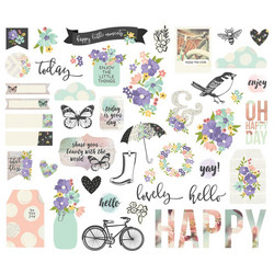 Simple Stories Always & Forever Bits & Pieces Die-Cuts, leikekuvat, 48 kpl