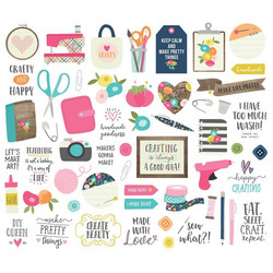 Simple Stories Crafty Girl Bits & Pieces Die-Cuts, leikekuvat, 55 kpl