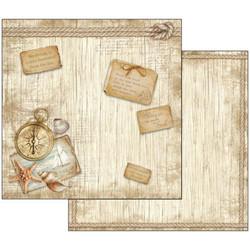 Stamperia skräppipaperi Sea Land Compass