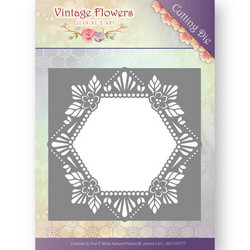 Jeanines Art Vintage Flowers stanssi Floral Hexagon