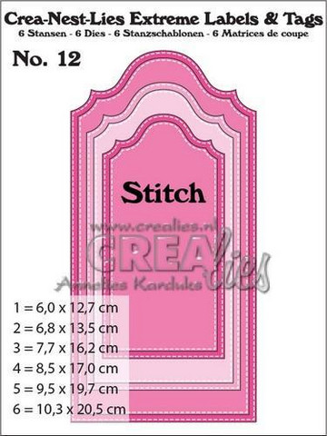 Crealies Extreme labels & tags no 12 with stitch -stanssisetti