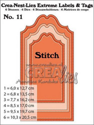 Crealies Extreme labels & tags no 11 with stitch -stanssisetti