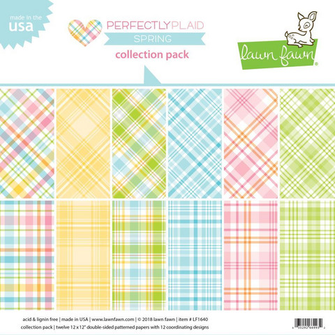 Lawn Fawn paperipakkaus Perfectly Plaid Spring, 12