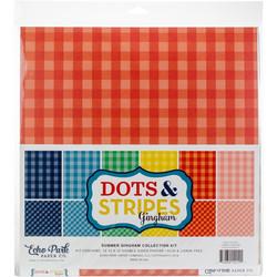 Echo Park Dots & Stripes Gingham -paperipakkaus, 12