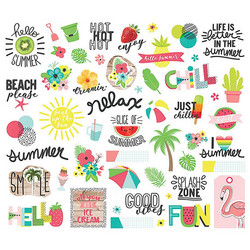 Simple Stories Hello Summer Bits & Pieces Die-Cuts, leikekuvat, 52 kpl