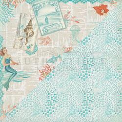 Authentique Sea-Maiden skräppipaperi Newsprint Seaside Collage