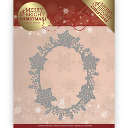 Precious Marieke Merry and Bright Christmas stanssi Poinsettia Oval