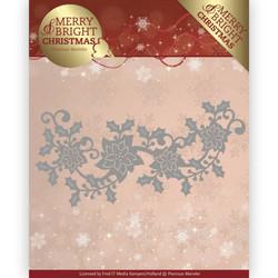 Precious Marieke Merry and Bright Christmas stanssi Poinsettia Border