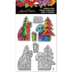 Stampendous Laurel Burch leimasin- ja stanssisetti Holiday Friends