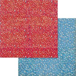 Stamperia skräppipaperi Patchwork Flowered Texture Red & Blue