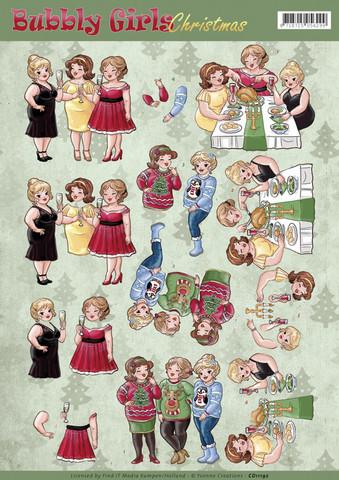 Yvonne Creations Bubbly Girls Christmas Cheers 3D-kuvat, leikattava