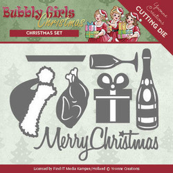 Yvonne Creations Bubbly Girls stanssisetti Christmas