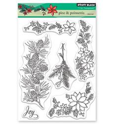 Penny Black Pine & Poinsettia leimasinsetti