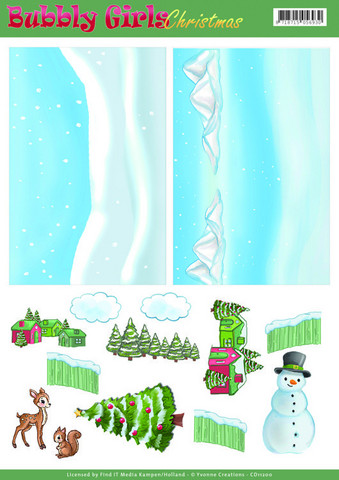Yvonne Creations Bubbly Girls Christmas Backgrounds -kuvat, leikattava