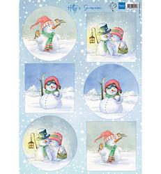 Marianne Design Hetty's Snowmen -korttikuvat, lumiukot
