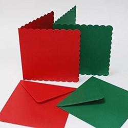 CraftUK korttipohjat ja kirjekuoret, scalloped (piparireuna), punainen ja vihreä, 6