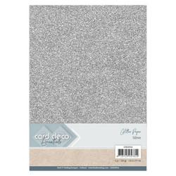Card Deco Glitter -paperipakkaus, Silver, A4