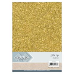 Card Deco Glitter -paperipakkaus, Dark Gold, A4