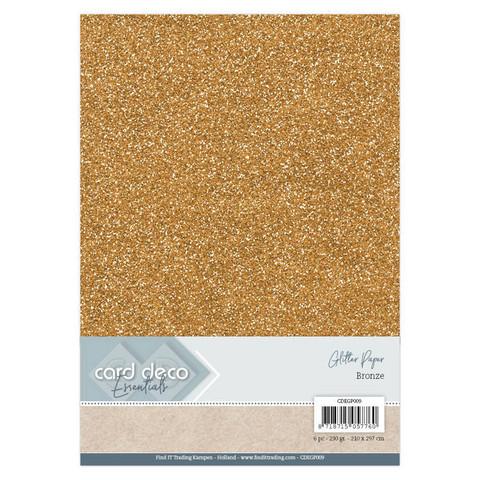 Card Deco Glitter -paperipakkaus, Bronze, A4