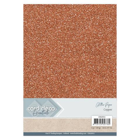 Card Deco Glitter -paperipakkaus, Copper, A4