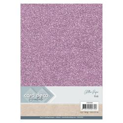 Card Deco Glitter -paperipakkaus, Pink, A4