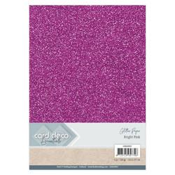 Card Deco Glitter -paperipakkaus, Bright Pink, A4