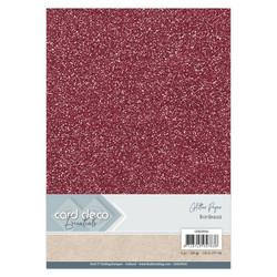 Card Deco Glitter -paperipakkaus, Bordeaux, A4