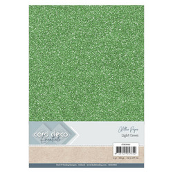 Card Deco Glitter -paperipakkaus, Light Green, A4