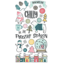 Simple Stories Freezin Season Chipboard -tarrat