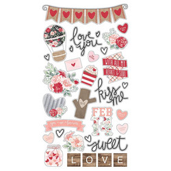 Simple Stories Kissing Booth Chipboard -tarrat