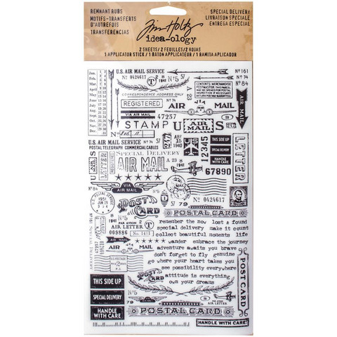 Tim Holtz Idea-ology Remnant Rub-Ons siirtokuvat Special Delivery