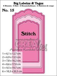 Crealies Big Labelzz & Tagzz no 15 with stitch line -stanssisetti
