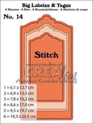 Crealies Big Labelzz & Tagzz no 14 with stitch line -stanssisetti