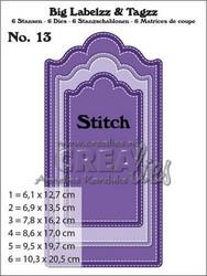 Crealies Big Labelzz & Tagzz no 13 with stitch line -stanssisetti