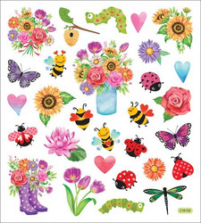 Sticker King tarrat Spring Flowers & Bugs Glitter