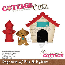 CottageCutz stanssi Doghouse with Pup & Hydrant
