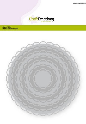 CraftEmotions Big Nesting stanssisetti  Open Circles Scallop
