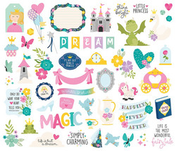 Simple Stories Little Princess Bits & Pieces Die-Cuts, leikekuvat, 53 kpl