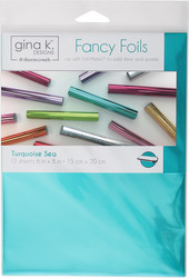 Gina K. Designs Fancy Foils -folio, sävy Turquoise Sea 12 arkkia